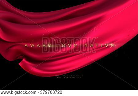 Award Nomination Ceremony With Luxurious Red Flying Silk Wavy Background With Gold Glitter And Spark