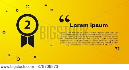Black Medal Icon Isolated On Yellow Background. Winner Achievement Sign. Award Medal. Vector Illustr
