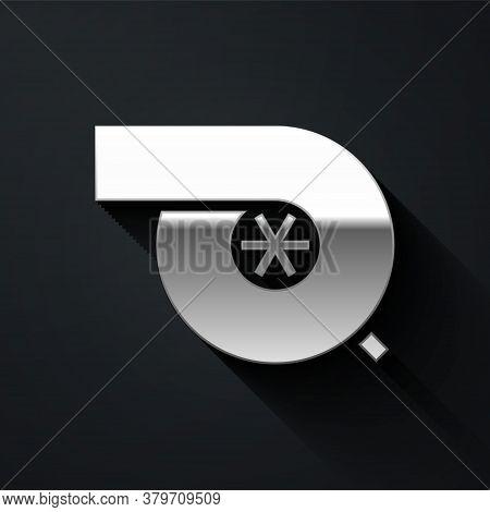 Silver Automotive Turbocharger Icon Isolated On Black Background. Vehicle Performance Turbo. Turbo C
