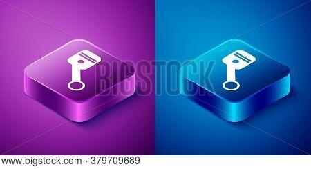 Isometric Engine Piston Icon Isolated On Blue And Purple Background. Car Engine Piston Sign. Square