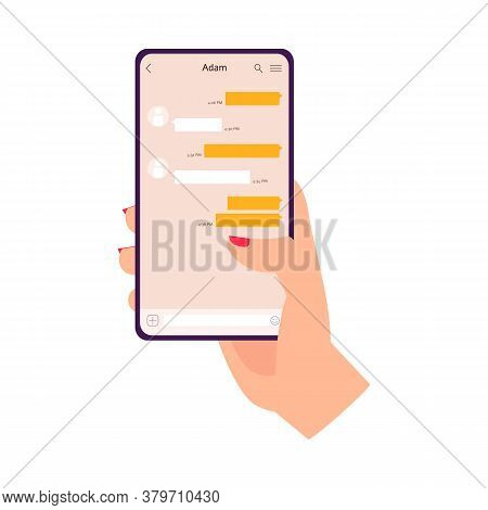 Womans Hand With Red Nail Polish Holding Mobile Phone With Messenger App
