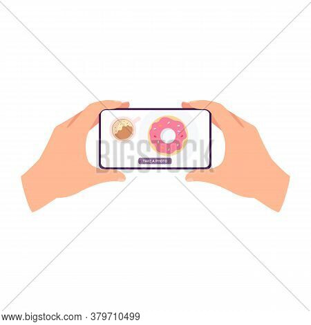 Phone Screen With Food Photography - Hands Holding A Smartphone