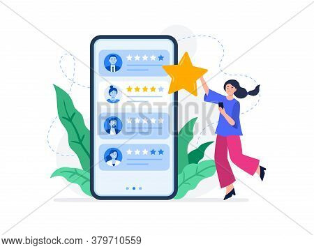 A Young Woman Rating Feedback Of Customers. Useful Reviews For Customers. Choice Rating Review App,