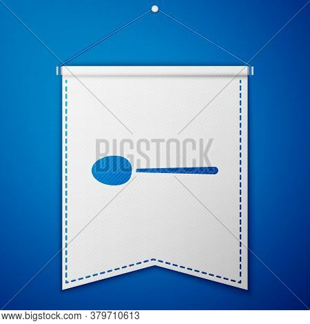 Blue Spoon Icon Isolated On Blue Background. Cooking Utensil. Cutlery Sign. White Pennant Template.