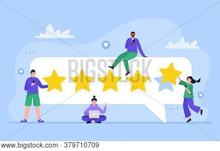People Are Giving Five Stars For Product, Service. Customer Satisfaction Ratings And Feedback. User