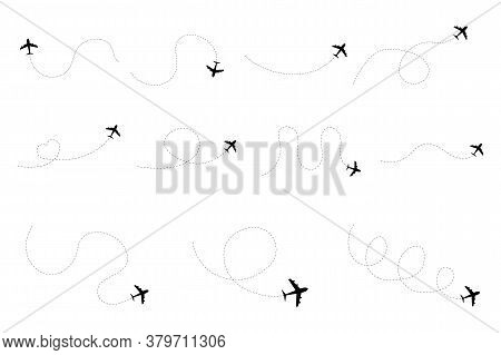 Airplane Dotted Route Line Set. Flight Tourism Route Path.  Airplane Line Path Vector Icon Of Air Pl