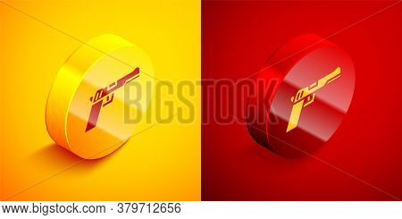 Isometric Pistol Or Gun Icon Isolated On Orange And Red Background. Police Or Military Handgun. Smal