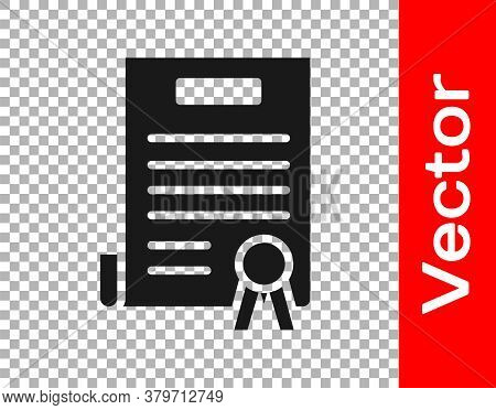 Black Declaration Of Independence Icon Isolated On Transparent Background. Vector Illustration