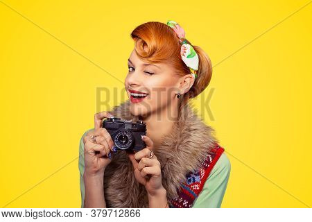 Photographer. Portrait Head Shot Young Woman Lady Pinup Girl Smiling Taking Pictures Holding Dslr Ca