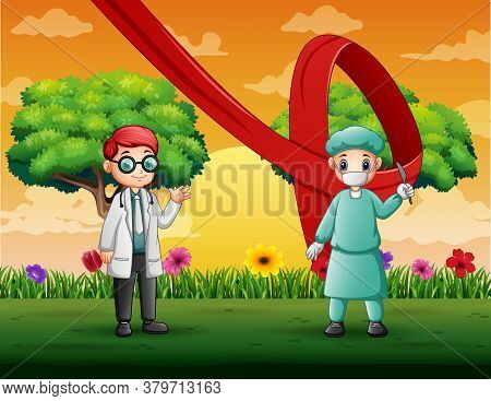 World Aids Day With Male Doctors At Nature