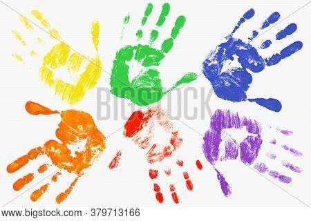 Handprints With The Lgbt Colors On A Light Background. The Gay-lesbian Movement. Lgbt Concep