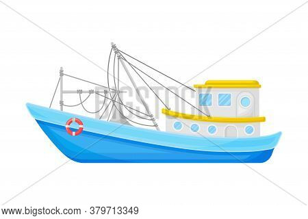 Commercial Fishing Boat Side View Vector Illustration