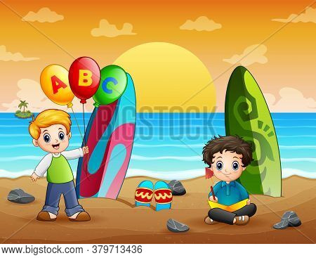 Illustration Of Happy Boys At The Beach