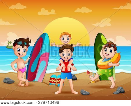 Illustration Of Happy Boys Playing On The Beach