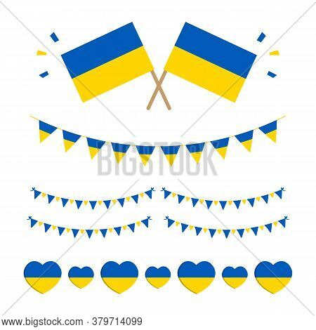 Flag Of Ukraine Set, Collection Of Design Elements, Borders, Garlands For Ukrainian Flag Day, Public