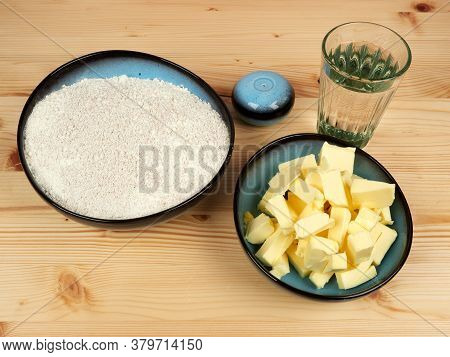 Ingredients For Buttery Shortbread Dough (pastry Crust). Perfect For Savoury Pies, Tarts, And Quiche