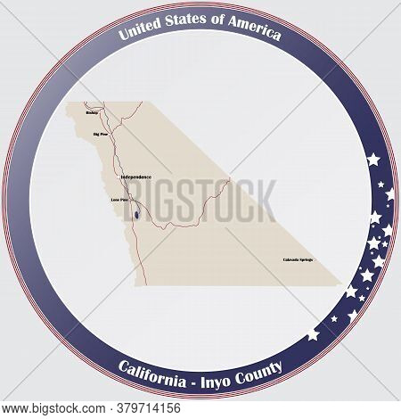 Round Button With Detailed Map Of Inyo County In California, Usa.