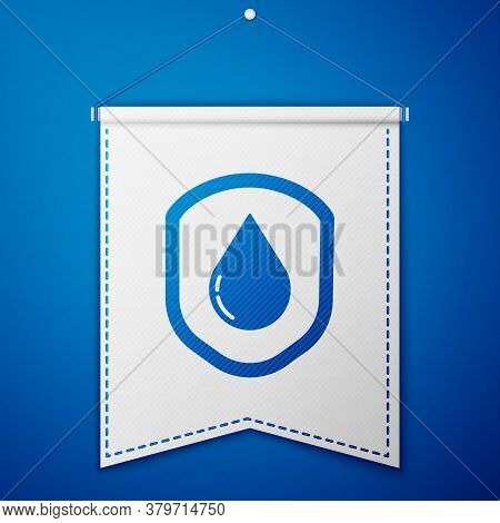 Blue Waterproof Icon Isolated On Blue Background. Water Resistant Or Liquid Protection Concept. Whit