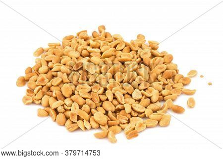 Heap Of Group Of Snack Peeled Salted Peanut, Earth Nut, Legume, Groundnut Isolated On White Backgrou