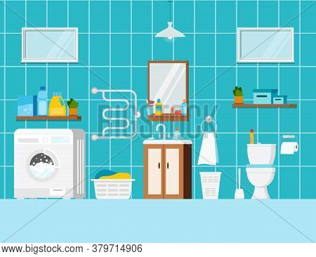 Modern Bathroom With Toilet And Washing Machine Interior Scene. House Room With Ceramic White Toilet