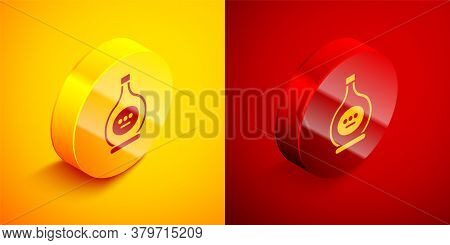 Isometric Bottle Of Cognac Or Brandy Icon Isolated On Orange And Red Background. Circle Button. Vect
