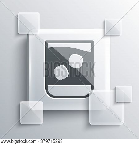 Grey Glass Of Whiskey And Ice Cubes Icon Isolated On Grey Background. Square Glass Panels. Vector Il