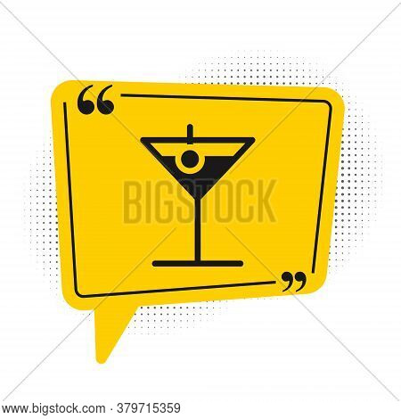 Black Martini Glass Icon Isolated On White Background. Cocktail Icon. Wine Glass Icon. Yellow Speech