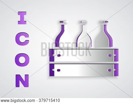 Paper Cut Bottles Of Wine In A Wooden Box Icon Isolated On Grey Background. Wine Bottles In A Wooden
