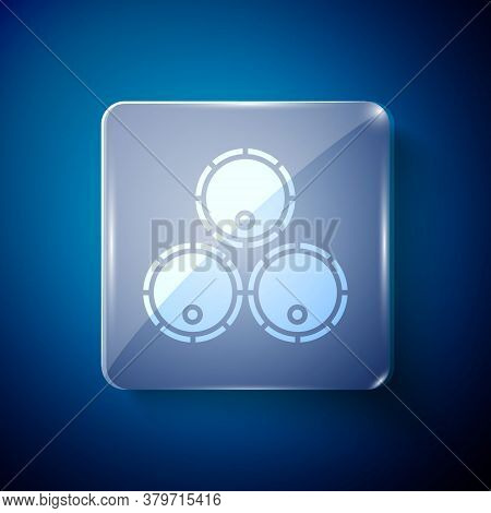 White Wooden Barrels Icon Isolated On Blue Background. Alcohol Barrel, Drink Container, Wooden Keg F