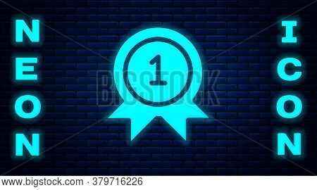 Glowing Neon Medal Icon Isolated On Brick Wall Background. Winner Achievement Sign. Award Medal. Vec