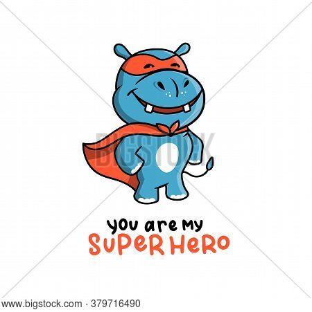 The Cute Logo Of A Hippo In A Super Hero Costume.