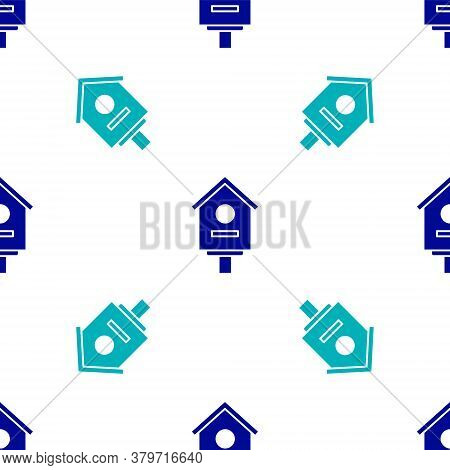Blue Bird House Icon Isolated Seamless Pattern On White Background. Nesting Box Birdhouse, Homemade