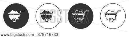 Black Wheelbarrow With Dirt Icon Isolated On White Background. Tool Equipment. Agriculture Cart Whee