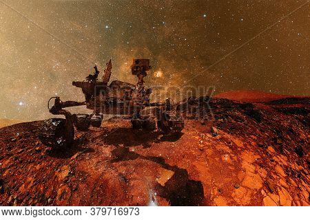 Curiosity Rover Exploring The Surface Of Mars. Science Fiction Wallpaper. Elements Of This Image Fur
