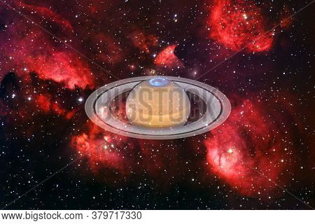Planet Saturn. Solar System. Cosmos Art. Elements Of This Image Furnished By Nasa