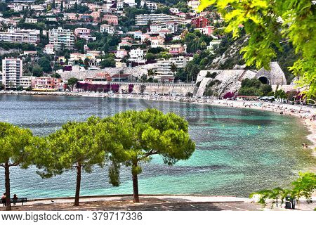 Villefranche-sur-mer, France, Picturesque Mediterranean Seafront On A Sunny Summer Day