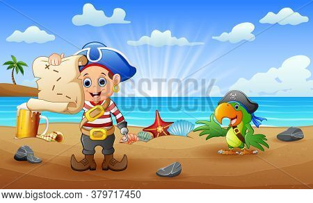 Cartoon Pirate Kid And Parrot Looking For A Map