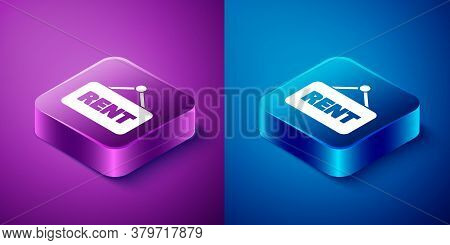 Isometric Hanging Sign With Text Rent Icon Isolated On Blue And Purple Background. Signboard With Te