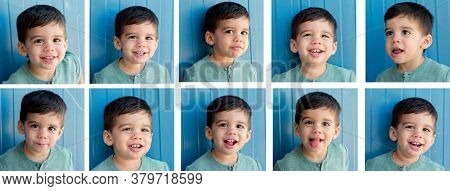 Sequence with different gestures of a funny gypsy boy.