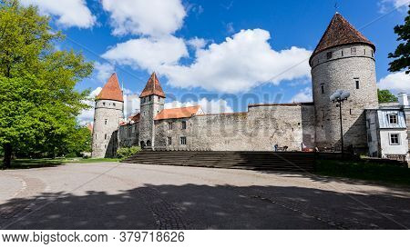 Tallinn, Estonia - May 26, 2019: Towers In The Tallinn Old Town. Old Town Is Bordered By Walls Of Ta