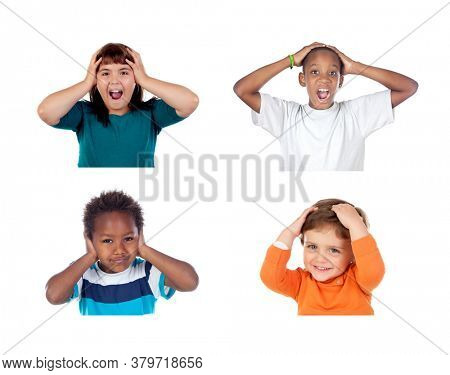 Children covering the ears and shocked by a loud sound isolated on a white background