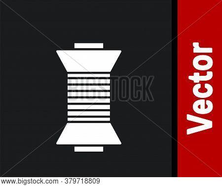 White Sewing Thread On Spool Icon Isolated On Black Background. Yarn Spool. Thread Bobbin. Vector Il