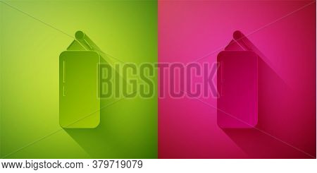 Paper Cut Punching Bag Icon Isolated On Green And Pink Background. Paper Art Style. Vector Illustrat