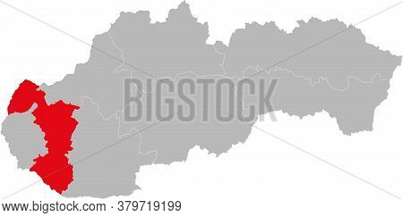 Trnava Region Isolated On Slovakia Map. Gray Background. Backgrounds And Wallpapers.