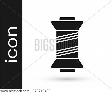 Grey Sewing Thread On Spool Icon Isolated On White Background. Yarn Spool. Thread Bobbin. Vector Ill
