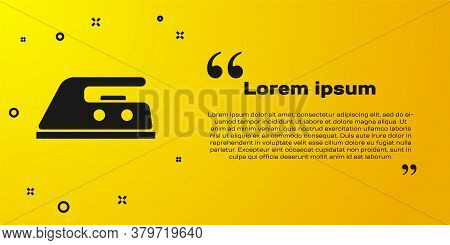 Black Electric Iron Icon Isolated On Yellow Background. Steam Iron. Vector Illustration