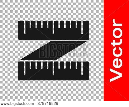 Black Tape Measure Icon Isolated On Transparent Background. Measuring Tape. Vector Illustration