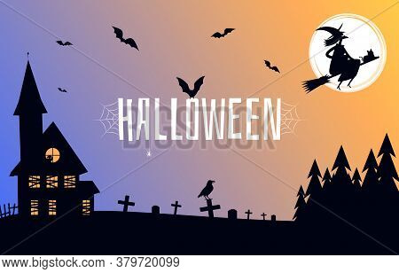 Happy Halloween Background. Laughing Witch Flies On A Broomstick, Cemetery And Old House. Halloween