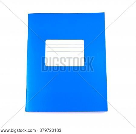 Blue Notebook Isolated On A White Background. School Education. Copy Space. Place For Text. Frame Fo