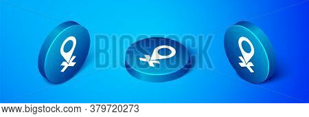 Isometric Map Pin Icon Isolated On Blue Background. Navigation, Pointer, Location, Map, Gps, Directi